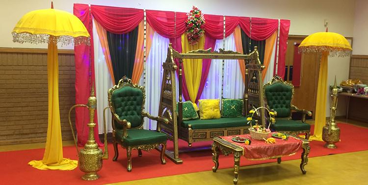 Mehndi stage hire mehndi stage decoration mehndi decor for Asian wedding decoration hire