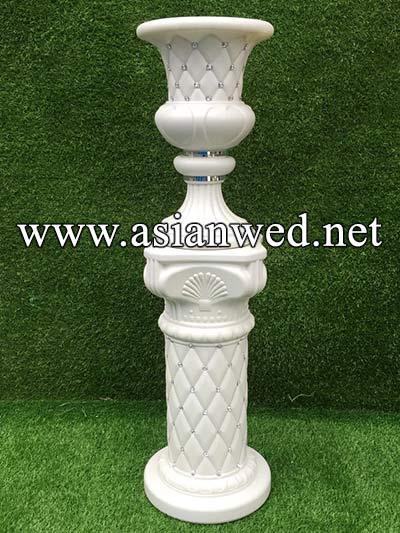 White Carved Pillar Set