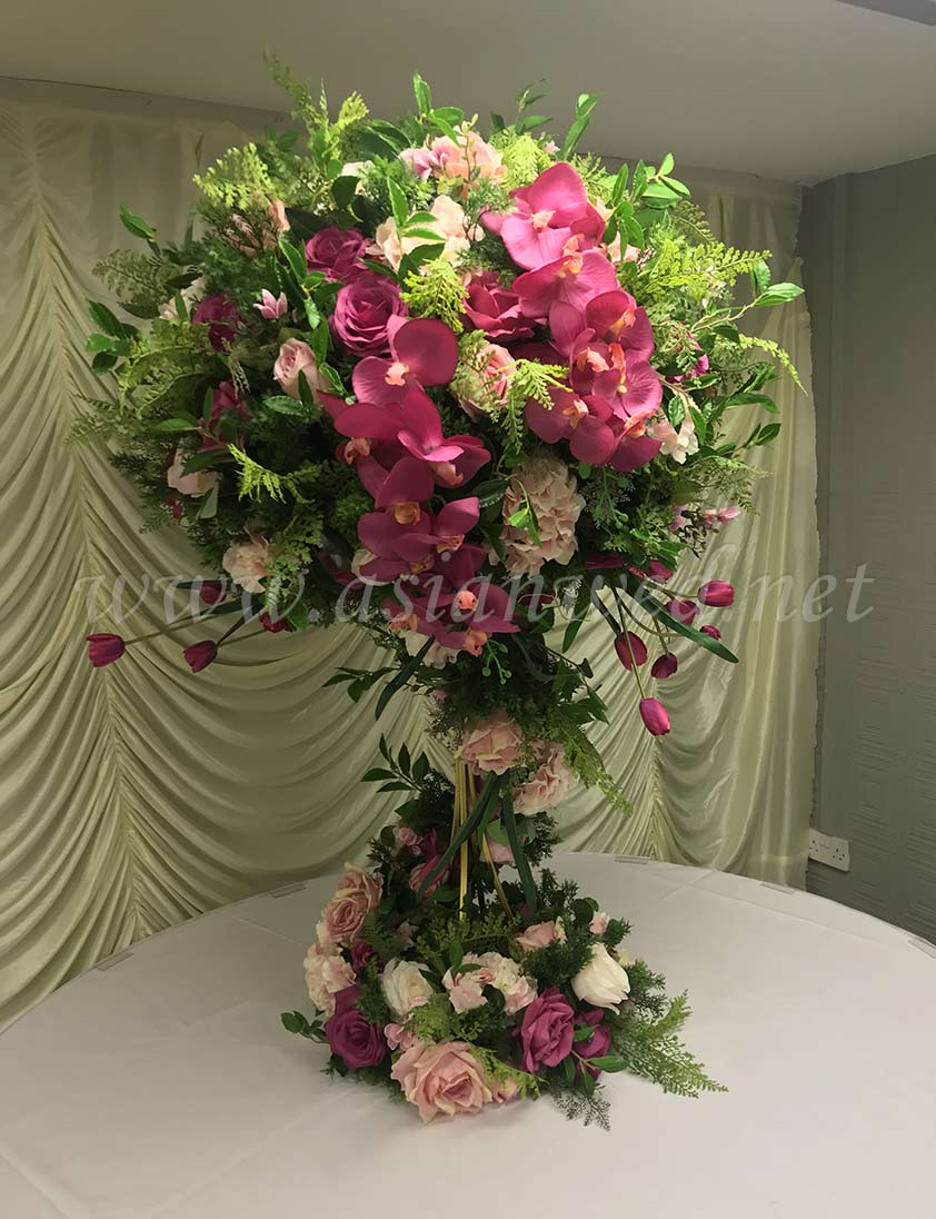 Large green & pink 75cm flower-ball